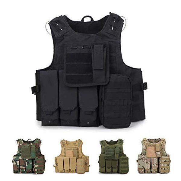 HYCOPROT Airsoft Tactical Vest 1 HYCOPROT Tactical Vest, 1000D Oxford Adjustable Military Airsoft Vest with Multipurpose Pouches for Paintball, Combat, Training, Outdoor, Shooting, Hunting
