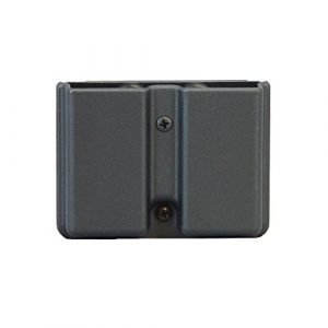 Uncle Mike's Magazine Pouch 1 Uncle Mike's Kydex Off-Duty and Concealment Accessory Single Stack Double Mag Case (Black) with Belt Loop