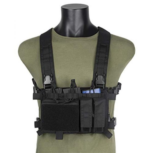 OneTigris Airsoft Tactical Vest 1 OneTigris Chest Rig Panel & Triple Mag Pouch with Tool Pouch (Black)