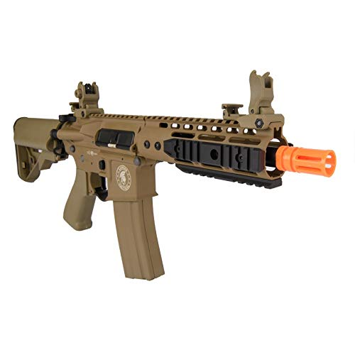 "Lancer Tactical  6 Lancer Tactical Proline 9"" KeyMod with Picatinny Carbine AEG Airsoft Rifle Tan 395 FPS"