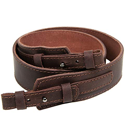 Free2Buy  1 Free2Buy Rifle Sling Gun Shoulder Genuine Leather Adjustable Belt for Hunting Outdoor Tactical Shotgun Sling Strap Shotgun Embossed