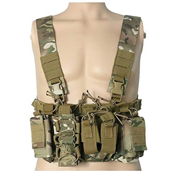 Shefure Airsoft Tactical Vest 2 Shefure Outdoor Hunting Vest Tactical MOLLE Triple Open-Top Mag Pouch Fast AK AR M4 FAMAS Mag Pouch with Shaped Suspender Shoulder Strap