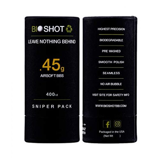 BioShot Airsoft BB 6 BioShot Biodegradable Airsoft BBS - .45g Super Slick Seamless Sniper Weight Competition Match Grade for All 6mm Airsoft Guns and Accessories (400 Round Sniper Pack, White)