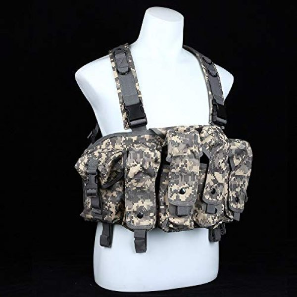 BGJ Airsoft Tactical Vest 6 BGJ Outdoor AK 47 Magazine Carrier Combat Vest Military Camouflage Tactical Vest Airsoft Ammo Chest Rig Hunting Gear