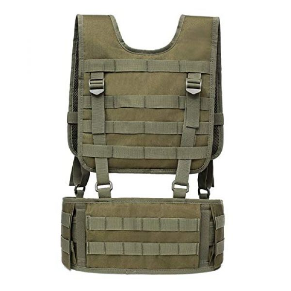 BGJ Airsoft Tactical Vest 2 Combat Molle Pals Tactical Waist Belt Combat Removable Waist Battle Padded Belt H-Shaped Suspender Harness Airsoft Wargame Vest