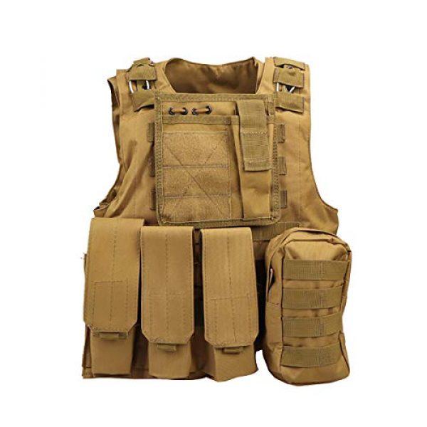 JFFLYIT Airsoft Tactical Vest 1 JFFLYIT Outdoor Sports Tactical Vest Wear Resistant Durable Combat Training Vest Breathable Adjustable CS Vest with Bag Khaki