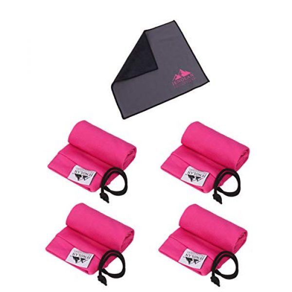 """Jenolan Collections Pistol Case 1 Jenolan Collections Silicone Treated 4.3"""" x 15.7"""" Pink Handgun Socks Pack for Pistols Revolvers and Glocks (4 Pack) for Women. Included is a Gun Cleaning Cloth."""
