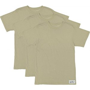 Army Universe Tactical Shirt 1 3 Pack - Desert Tan/Sand Military T-Shirt, Cotton Army ACU Uniform Tee with Official Pin