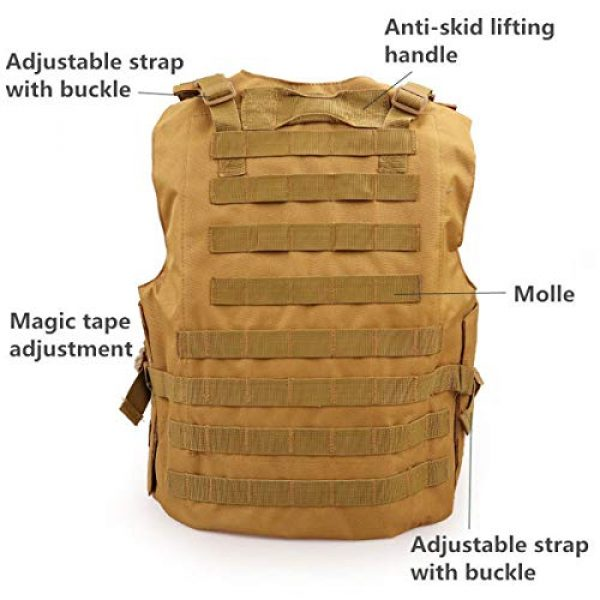 KIDYBELL Airsoft Tactical Vest 5 KIDYBELL Khaki Adjustable Airsoft Vest Lightweight Oxford Cloth Tactical Training Vest is Suitable for Outdoor Hunting Army Fan Combat Training Airsoft and Other Outdoor Sports