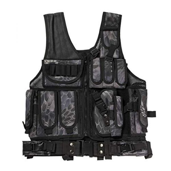Jipemtra Airsoft Tactical Vest 1 Jipemtra Tactical MOLLE Airsoft Vest Adjustable Paintball Combat Training Vest Detachable for Hunting Mountaineering Outdoors (Python Black)