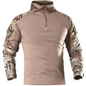AKARMY Tactical Shirt 1 Men's Tactical Military Army Combat T-Shirt Long Sleeve Slim Fit Camo Shirt with 1/4 Zipper