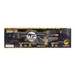Game Face Airsoft Rifle 1 GameFace 52003-CA Defender Strike Airsoft Kit With Electric Full/Semi-Auto Airsoft Rifle And Spring-Powered Single Shot 1911 Airsoft Pistol, Holster And Ammo, California Compliant