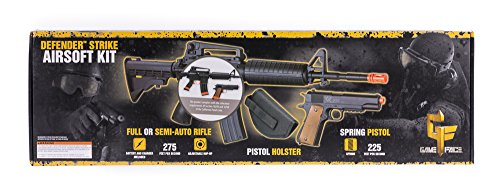 Game Face  1 GameFace 52003-CA Defender Strike Airsoft Kit With Electric Full/Semi-Auto Airsoft Rifle And Spring-Powered Single Shot 1911 Airsoft Pistol