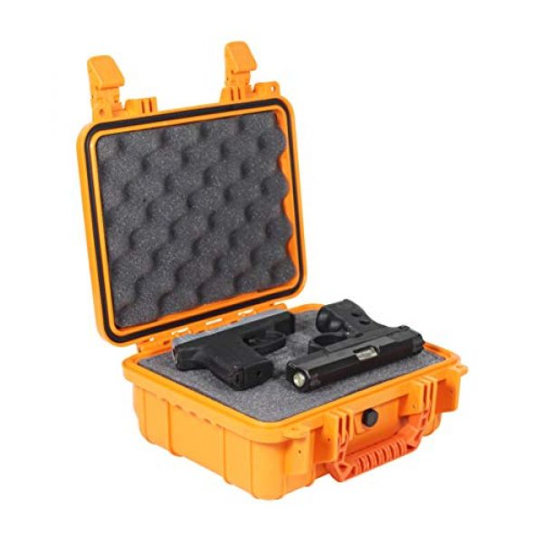 "Condition 1 Pistol Case 1 Condition 1 Premium Dual Pistol Hard Case with Foam, Orange | 9"" x 7"" x 4"" 
