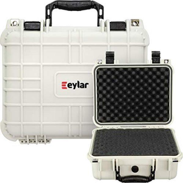 Eylar Pistol Case 7 Eylar Tactical Hard Gun Case Water & Shock Proof with Foam TSA Approved 13.37 Inch 11.62 Inch 6 Inch Storm White