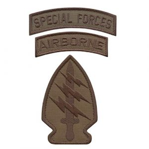 LEGEEON  1 LEGEEON Bundle Set of 3 Tan Coyote Brown Patches Special Forces SF Airborne US Army Military Morale Tactical Badges
