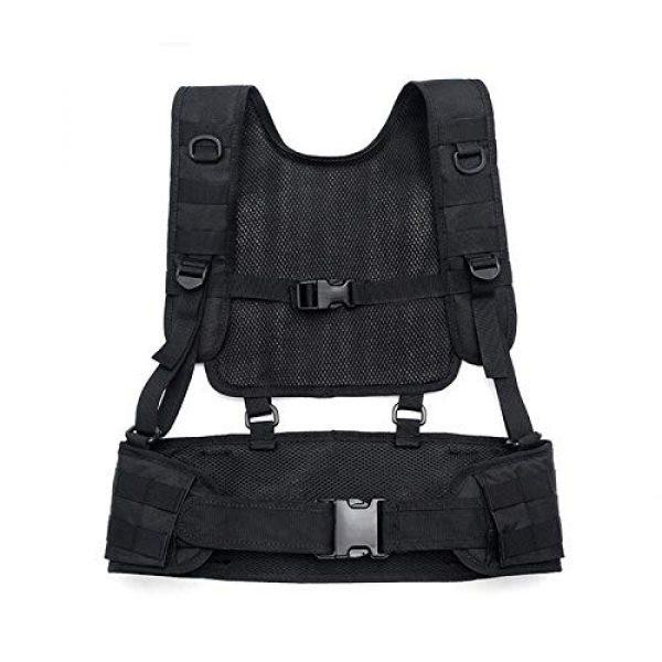 BGJ Airsoft Tactical Vest 6 Combat Molle Pals Tactical Waist Belt Combat Removable Waist Battle Padded Belt H-Shaped Suspender Harness Airsoft Wargame Vest