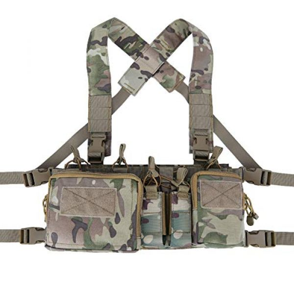 Gocher Airsoft Tactical Vest 2 Lightweight Vest Military Recon Chest Rig with Molle Pocket Detachable Pouches