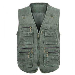 DAFREW Airsoft Tactical Vest 1 DAFREW Four Seasons Vest Middle-Aged Vest Multi-Pocket Vest Outdoor Leisure Fishing Vest (Color : Army Green, Size : L)
