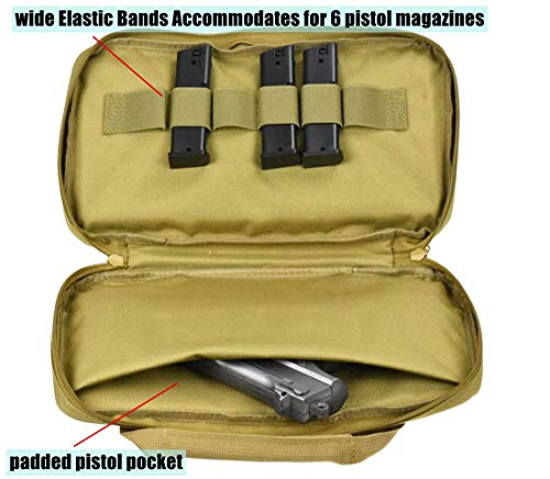JFFCE Pistol Case 5 JFFCE Tactical Pistol Storage case for Single Pistol and Mag with Heavy Duty Double Zippers