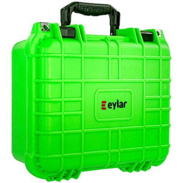 Eylar Pistol Case 1 Eylar Tactical Hard Gun Case Water & Shock Proof with Foam 13.37 inch 11.62 inch 6 inch Neon Green