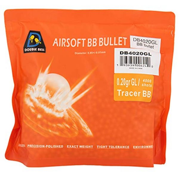 Double Bell Airsoft BB 1 Double Bell ETAGUNS | .20g 6mm Plastic Tracer Airsoft BBS 4000 Rounds Tracer Match Grade Seamless Polished Ammo Bag
