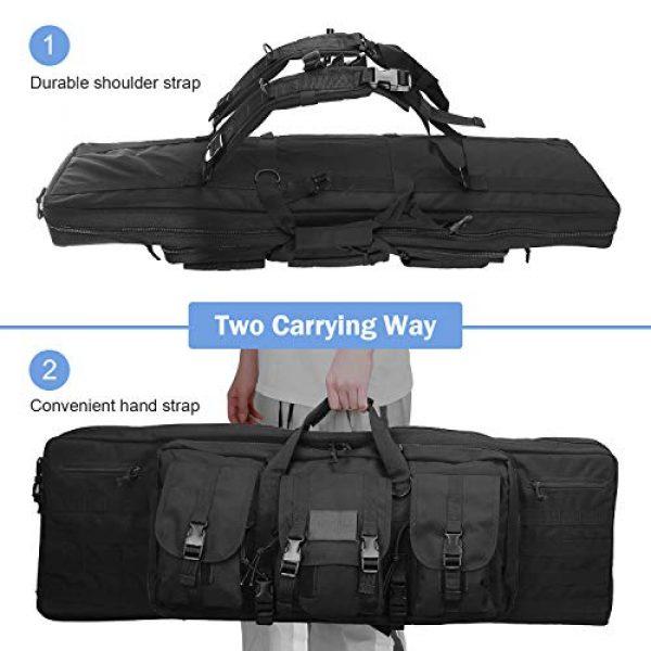 ProCase Rifle Case 5 ProCase Double Rifle Bag, Tactical Long Rifle Pistol Gun Firearm Transportation Carbine Case w/Backpack, MOLLE, Lockable Compartments