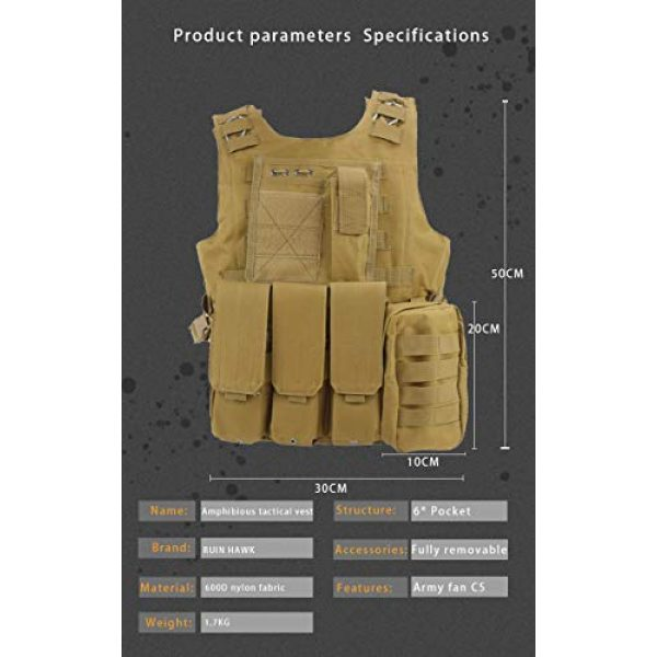 BGJ Airsoft Tactical Vest 6 BGJ Tactical Vest Military Combat Armor Vest Mens Army Airsoft Hunting Vest Adjustable Outdoor CS Paintball Training Protective Vest