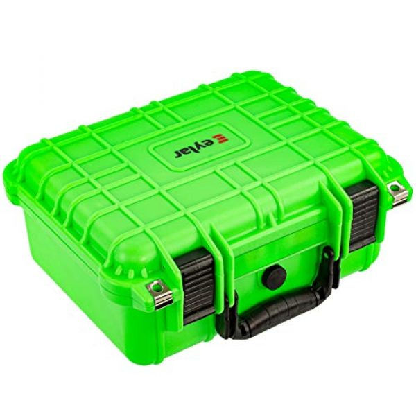 Eylar Pistol Case 3 Eylar Tactical Hard Gun Case Water & Shock Proof with Foam 13.37 inch 11.62 inch 6 inch Neon Green
