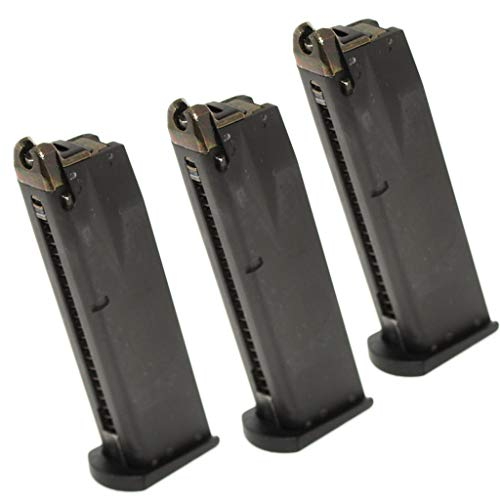 Generica  1 Airsoft Spare Parts 3pcs 24rd Gas Mag Metal Magazine for M9 Series GBB Pistol Black