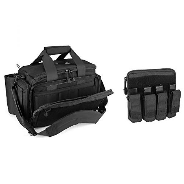 ProCase Pistol Case 1 ProCase Tactical Gun Range Bag Pistol Shooting Duffle Bag Bundle with Tactical Pistol Mag Pouch -Black