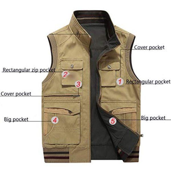 DAFREW Airsoft Tactical Vest 4 DAFREW Men's Reversible Cotton Casual Gilet Vest Outdoor Multi Pockets Full Zip Vests (Color : Black, Size : L)