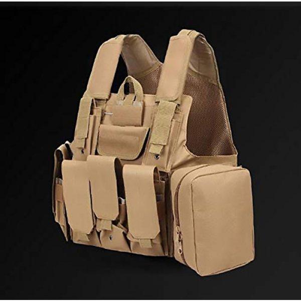 WEQ Airsoft Tactical Vest 5 WEQ Tactical Molle Airsoft Vest Paintball Combat Training Vest Adjustable (Color : Beige)