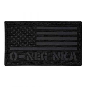 Tactical Freaky Airsoft Morale Patch 1 IR Blackout ONEG O- Blood Type USA Flag NKA NKDA Infrared Tactical Morale Fastener Patch