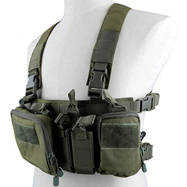 Huenco Airsoft Tactical Vest 2 Huenco Tactical Assault Chest Rig 500D Molle Multicam Tactical Vest with Multi-Pockets + Tactical MOLLE Military Day Pack