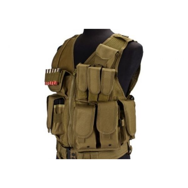 enmu pancho Airsoft Tactical Vest 4 Airsoft Zombie Hunter Starter's Protective Vest Package for airsoft - Tan