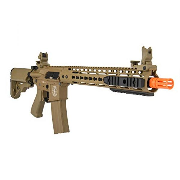 """Lancer Tactical Airsoft Rifle 6 Lancer Tactical 12"""" KeyMod Rail with Picatinny Carbine AEG Airsoft Rifle Tan 395 FPS"""