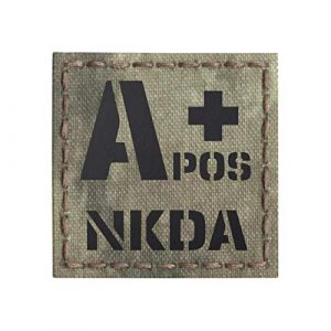 Tactical Freaky  1 IR A-TACS AU APOS NKDA A+ Arid Tan Blood Type 2x2 Tactical Morale Touch Fastener Patch