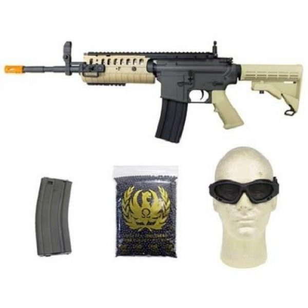 Jing Gong (JG) Airsoft Rifle 1 jing gong w4 metal gb aeg airsoft gun, extra mag, google's, 4350 bb's combo -tan(Airsoft Gun)