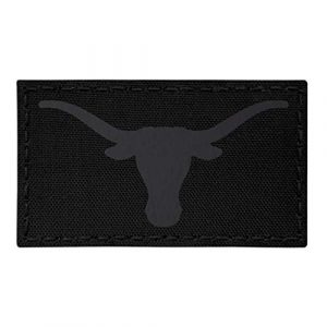 Tactical Freaky Airsoft Morale Patch 1 IR Texas Longhorn Blackout All Black Infrared 3.5x2 IFF Tactical Morale Touch Fastener Patch
