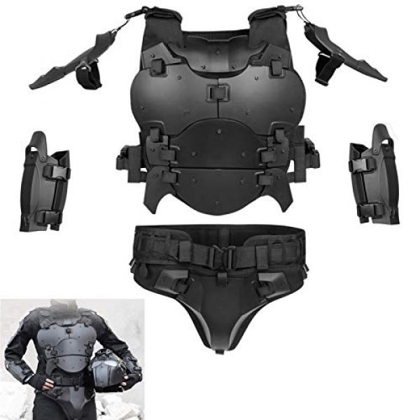 WoSporT Airsoft Tactical Vest 1 Airsoft Vest Body Armor Vests Adjustable Tactical Molle Chest Protector Vest+Elbow+Shoulder+Crotch+Battle Belt Set Paintball Military Combat Training Gear Motorcycle CS Cosplay Movie Costumes