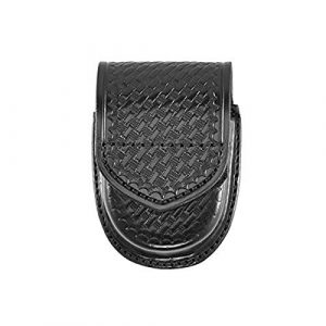 Aker Leather Handcuff Pouch 1 Aker Leather Products Double Handcuff Case 500D Double Handcuff Case, Basketweave, Velcro, Black