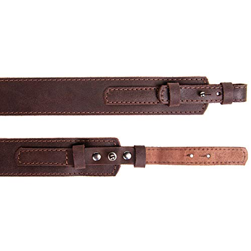 Free2Buy  7 Free2Buy Rifle Sling Gun Shoulder Genuine Leather Adjustable Belt for Hunting Outdoor Tactical Shotgun Sling Strap Shotgun Embossed