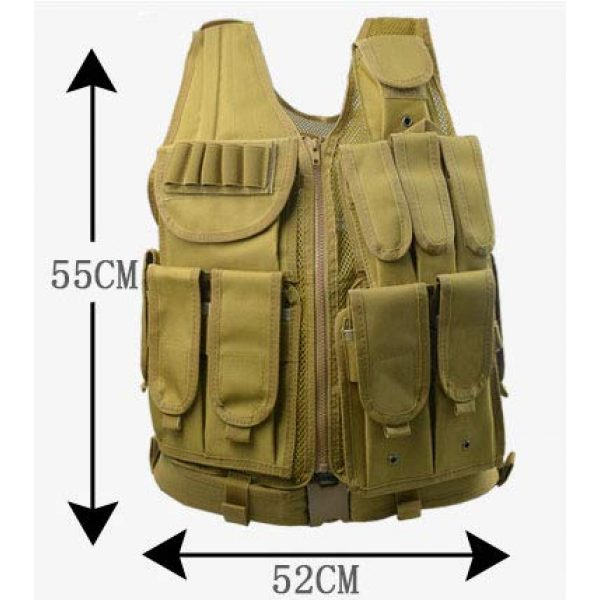 HHFC Airsoft Tactical Vest 6 HHFC Tactical Vest Military Airsoft Vest Adjustable Breathable Combat Training Vest for Outdoor Hunting, Fishing, Army Fans, Survival Game, Combat Training