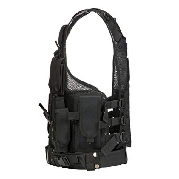 Jipemtra Airsoft Tactical Vest 3 Jipemtra Tactical MOLLE Airsoft Vest Adjustable Paintball Combat Training Vest Detachable for Hunting Mountaineering Outdoors (Black)