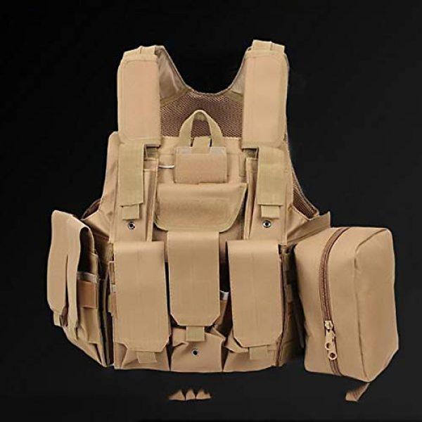 WEQ Airsoft Tactical Vest 4 WEQ Tactical Molle Airsoft Vest Paintball Combat Training Vest Adjustable (Color : Beige)