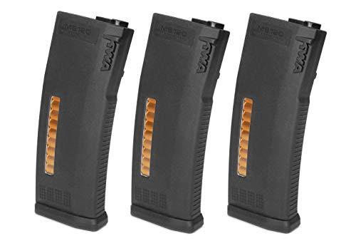 KWA  1 KWA Airsoft MS120 Magazine- Black-3pack Enhanced Polymer 120 Rounds
