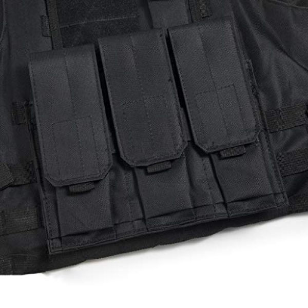 Jipemtra Airsoft Tactical Vest 7 Jipemtra Tactical MOLLE Airsoft Vest Adjustable Paintball Combat Training Vest Detachable (Black)