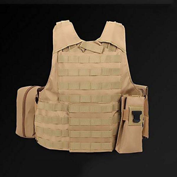 WEQ Airsoft Tactical Vest 6 WEQ Tactical Molle Airsoft Vest Paintball Combat Training Vest Adjustable (Color : Beige)
