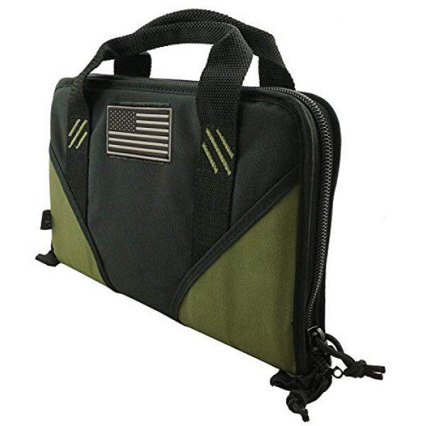 K-Cliffs Pistol Case 2 K-Cliffs Pistol Case Lockable Memory Foam Handgun Storage Pouch Carrying Bag   6 Magazine Pockets Black/Olive
